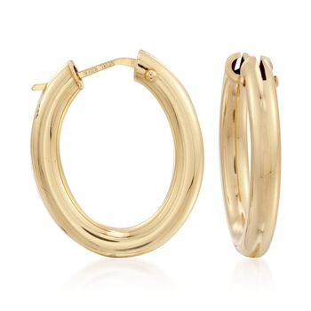 "Roberto Coin 18kt Yellow Gold Oval Hoop Earrings. 1"", , default"