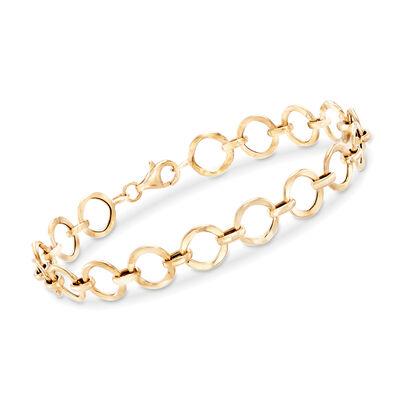 14kt Yellow Gold Circle-Link Bracelet, , default