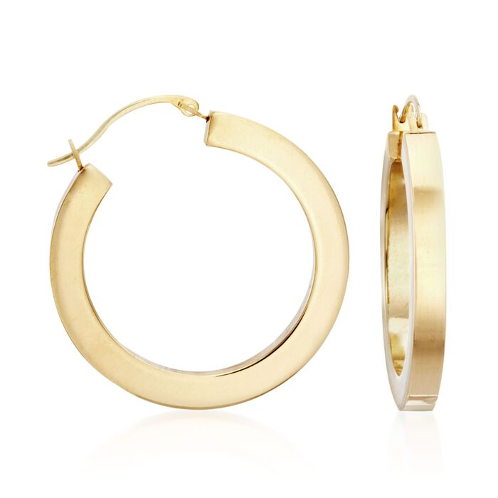 "Andiamo 14kt Yellow Gold Hoop Earrings. 1"", , default"