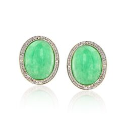 Green Jade Earrings With Diamond Accents in 14kt Yellow Gold, , default