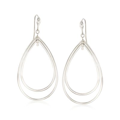 "Zina Sterling Silver ""Contemporary"" Large Double Pear-Shaped Drop Earrings, , default"