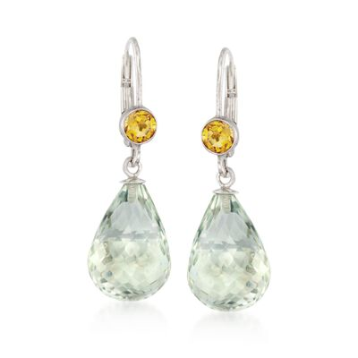 15.00 ct. t.w. Green Prasiolite  and .80 ct. t.w. Citrine Earrings in Sterling Silver, , default
