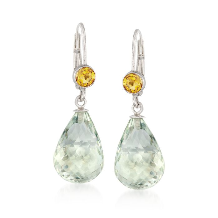 15.00 ct. t.w. Green Prasiolite and .80 ct. t.w. Citrine Earrings in Sterling Silver