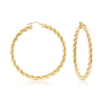Italian 18kt Gold Over Sterling Large Twisted Hoop Earrings, , default