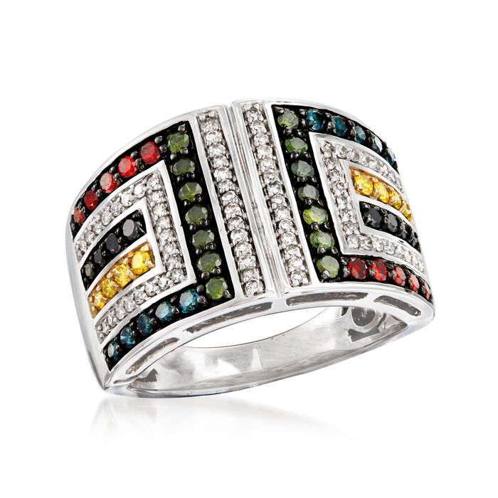 1.00 ct. t.w. Multicolored Diamond Geometric Ring in 14kt White Gold