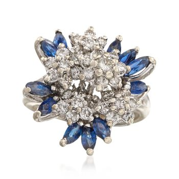 C. 1970 Vintage 1.25 ct. t.w. Sapphire and 1.05 ct. t.w. Diamond Floral Cluster Ring in 14kt White Gold. Size 6.5, , default