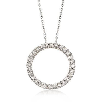 C. 1990 Vintage 2.00 ct. t.w. Diamond Circle Pendant Necklace in 14kt White Gold, , default