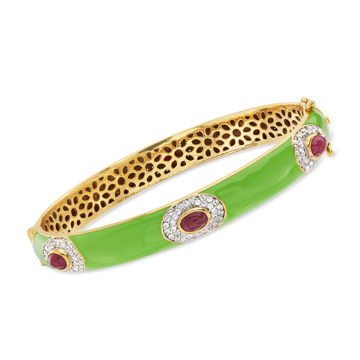 "Green Enamel, 3.70 ct. t.w. Ruby and 1.60 ct. t.w. White Zircon Bangle Bracelet in 18kt Gold Over Sterling. 7.5"", , default"
