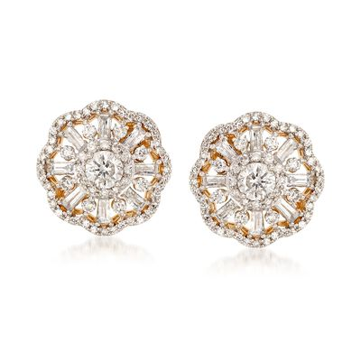 1.00 ct. t.w. Diamond Scallop-Edged Earrings in 14kt Yellow Gold, , default