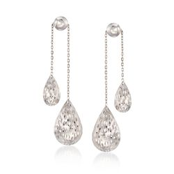 Sterling Silver Double Teardrop Earrings, , default