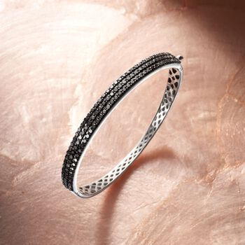 "3.00 ct. t.w. Black Diamond Bangle Bracelet in Sterling Silver. 7"", , default"