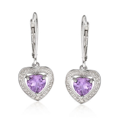 1.10 ct. t.w. Amethyst Heart Drop Earrings with Diamond Accents in Sterling Silver, , default