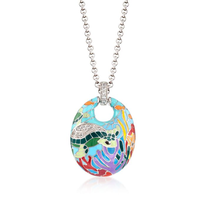 "Belle Etoile ""Sea Turtle"" .20 ct. t.w. CZ and Aqua Enamel Pendant in Sterling Silver, , default"