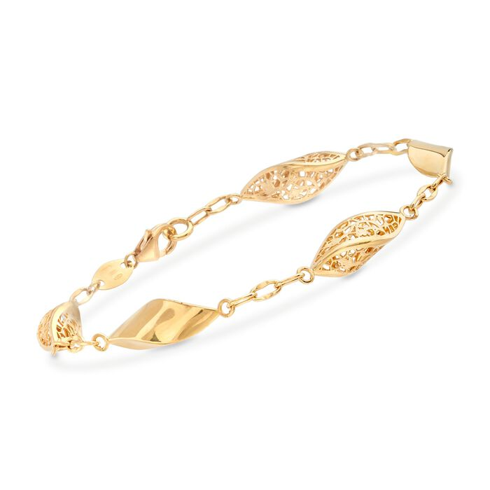 Italian 18kt Yellow Gold Floral Openwork Twisted Link Bracelet, , default
