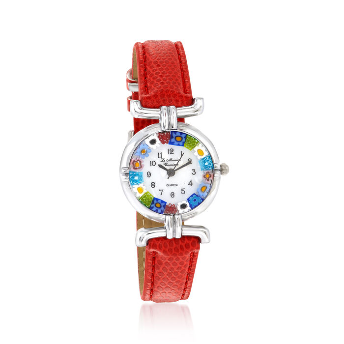 Italian Woman's Floral Multicolored Murano Glass 26mm Watch With Red Leather, , default