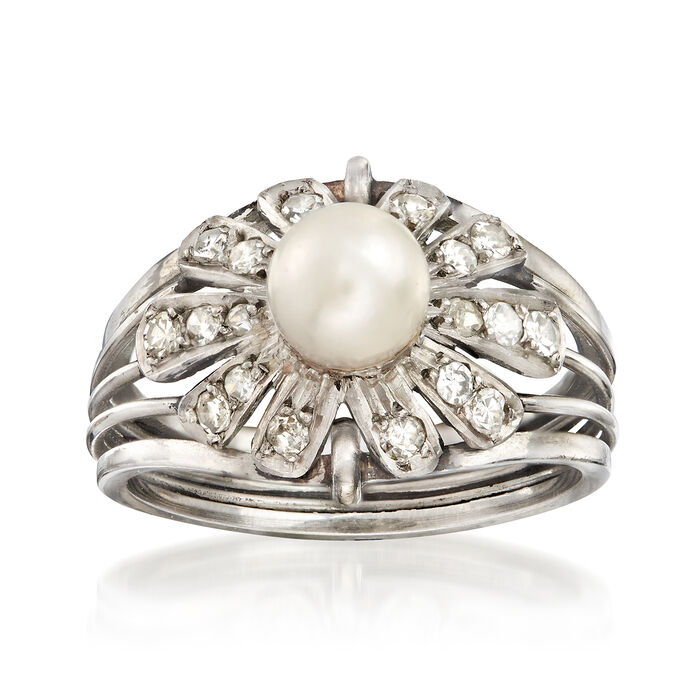 C. 1950 Vintage 6mm Cultured Pearl and .36 ct. t.w. Diamond Floral Ring in Platinum. Size 7, , default