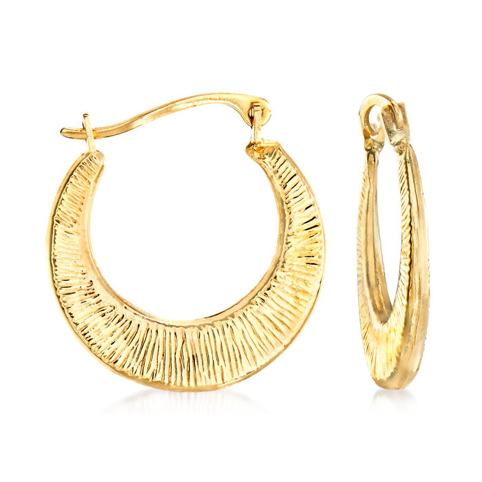 """Textured and Polished 14kt Yellow Gold Hoop Earrings. 3/4"""""""