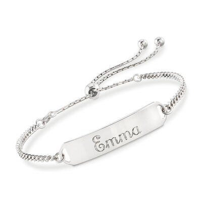 Italian Sterling Silver Name Bar ID Bolo Bracelet, , default