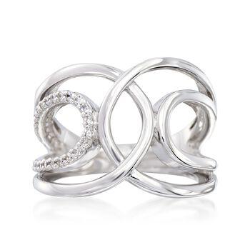 """Belle Etoile """"Onda"""" .30 ct. t.w. CZ Open Loop Ring in Sterling Silver. Size 7, , default"""