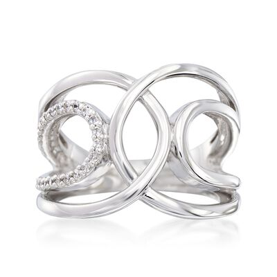 "Belle Etoile ""Onda"" .30 ct. t.w. CZ Open Loop Ring in Sterling Silver, , default"