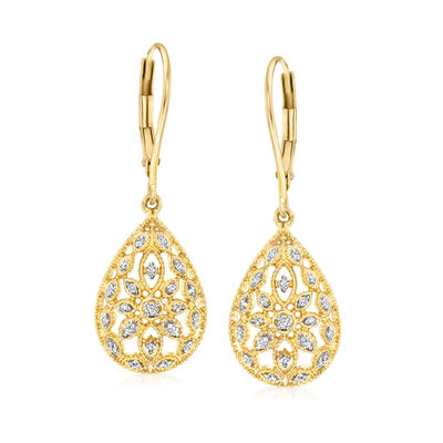 .10 ct. t.w. Diamond Openwork Teardrop Earrings in 18kt Gold Over Sterling