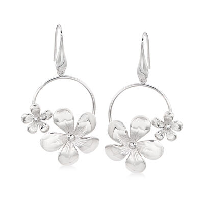 Italian Floral Drop Earrings in Sterling Silver, , default