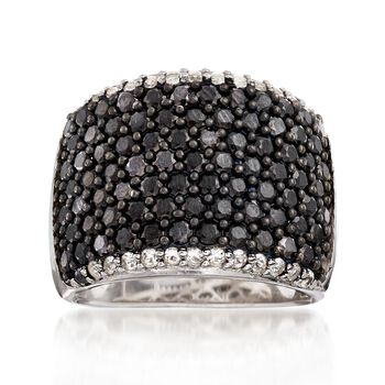 4.00 ct. t.w. Black Spinel and .40 ct. t.w. White Topaz Wide Band Ring in Sterling Silver, , default