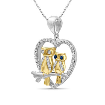 .16 ct. t.w. Diamond Owl Pendant Necklace in Two-Tone Sterling. 18""