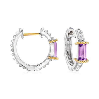 "Andrea Candela ""La Romana"" .92 ct. t.w. Amethyst Hoop Earrings in Sterling Silver and 18kt Yellow Gold"