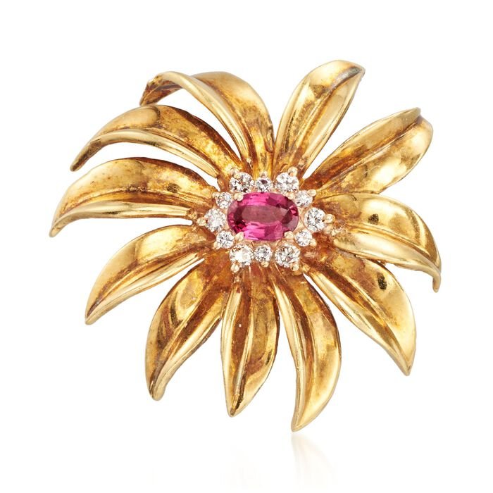 C. 1970 Vintage .50 Carat Pink Sapphire and .25 ct. t.w. Diamond Flower Pin in 18kt Yellow Gold. Pin, , default