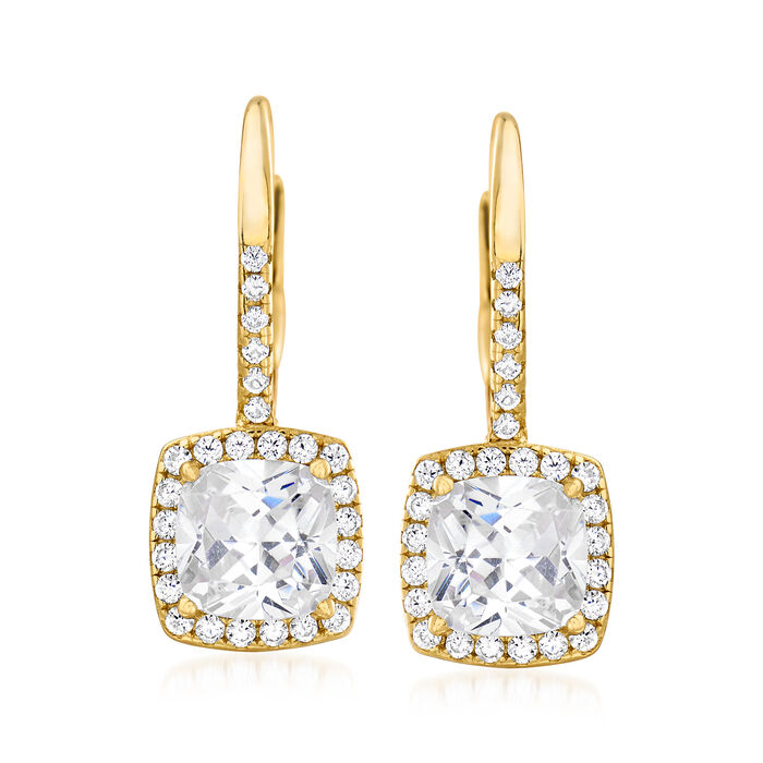 2.25 ct. t.w. CZ Square Drop Earrings in 18kt Gold Over Sterling