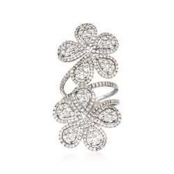 3.25 ct. t.w. Diamond Floral Ring in 18kt White Gold, , default