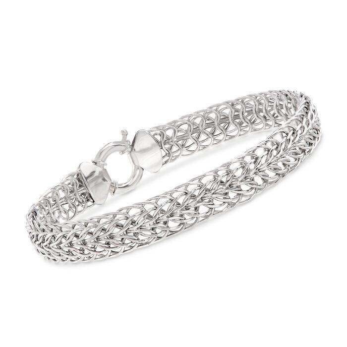 14kt White Gold Double Flat-Wheat Link Bracelet, , default