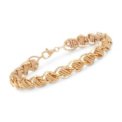 14kt Yellow Gold Over Sterling Silver Triple Link Station Bracelet, , default