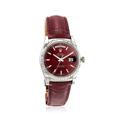 Pre-Owned Rolex Datejust Men's 36mm Automatic 18kt White Gold Watch with Cherry Leather, , default