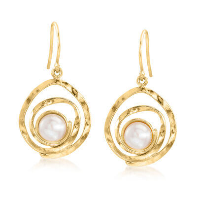 7-7.5mm Cultured Pearl Swirl Drop Earrings in 18kt Gold Over Sterling