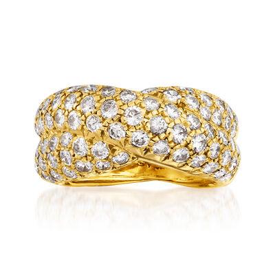C. 2017 Vintage Van Cleef 2.10 ct. t.w. Diamond Crisscross Ring in 18kt Yellow Gold