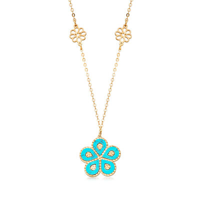 Italian Simulated Turquoise Flower Station Necklace in 14kt Yellow Gold, , default