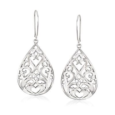 Sterling Silver Openwork Teardrop Earrings, , default