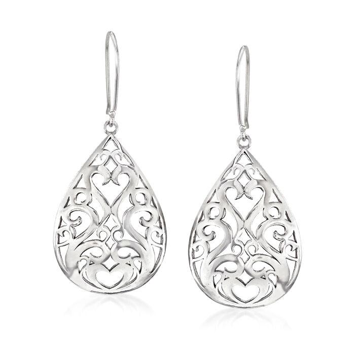Sterling Silver Openwork Teardrop Earrings, , default