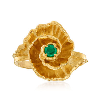 C. 1990 Vintage .10 Carat Emerald Flower Ring in 14kt Yellow Gold, , default