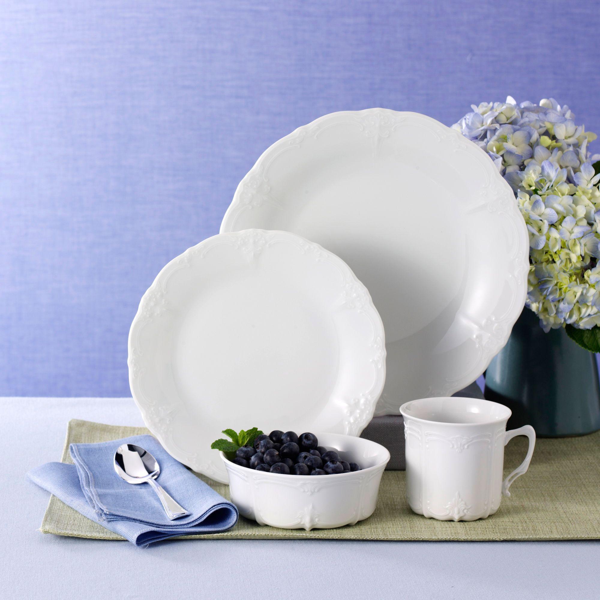 Hutschenreuther \u0026quot;Baronesse\u0026quot; White Porcelain Dinnerware  default & Hutschenreuther \
