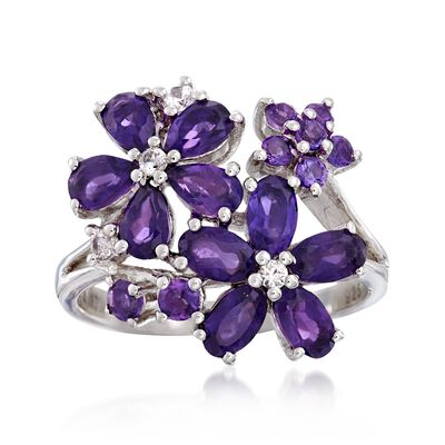2.10 ct. t.w. Amethyst and .10 ct. t.w. White Zircon Flower Ring in Sterling Silver, , default
