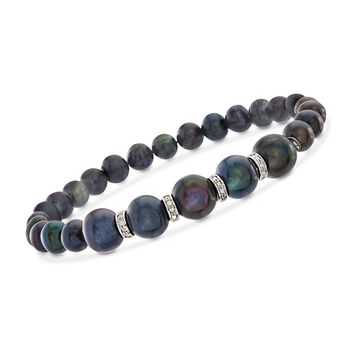6-8.5mm Black Cultured Pearl and .25 ct. t.w. Diamond Stretch Bracelet in Sterling Silver, , default