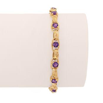 3.00 ct. t.w. Amethyst Oval-Link Bracelet in 14kt Yellow Gold, , default