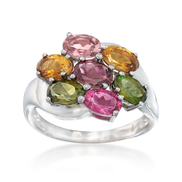 2.40 ct. t.w. Multicolored Tourmaline Cluster Ring in Sterling Silver, , default
