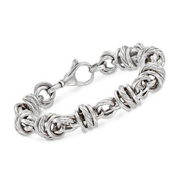"Italian Sterling Silver Multi-Circle Link Bracelet. 7"", , default"