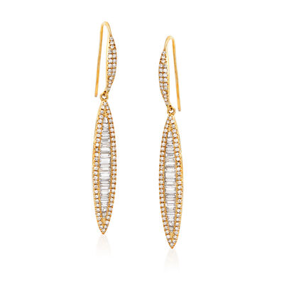 1.05 ct. t.w. Baguette and Round Linear Drop Earrings in 18kt Yellow Gold