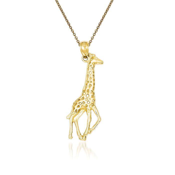 """14kt Yellow Gold Giraffe Pendant Necklace. 18"""", , default"""