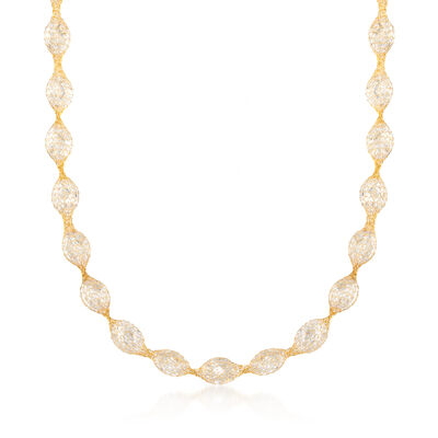 Italian 28.75 ct. t.w. CZ Mesh Necklace in 14kt Yellow Gold